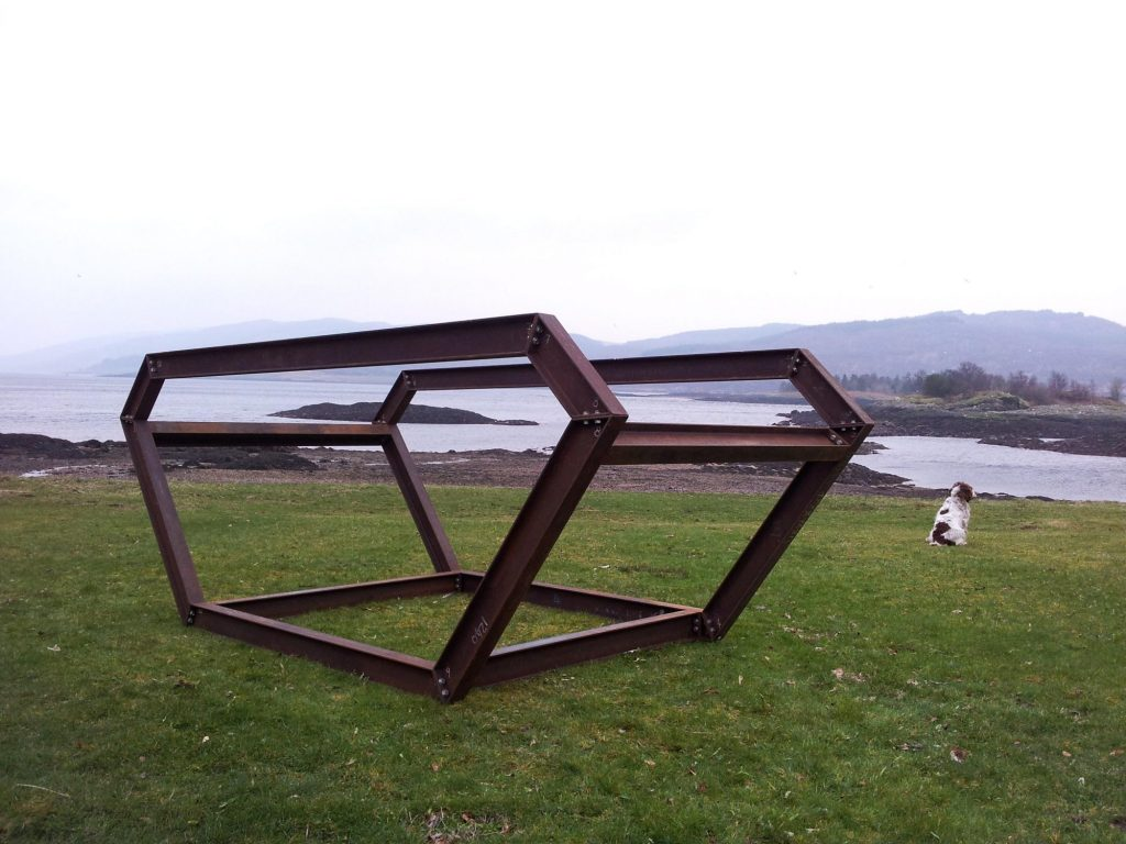 an outdoor sculpture made from steel I Beams outlining the shape of a skip